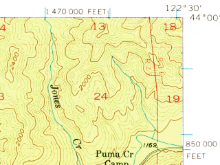 Reduced fragment of topographic map en--usgs--063k--055059--(1955)--N044-00_W122-45--N043-45_W122-30 in area of Lookout Point Reservoir; towns and cities Westfir