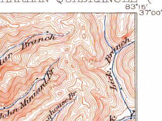 Reduced fragment of topographic map en--usgs--063k--055071--(1919)--N037-00_W083-30--N036-45_W083-15; towns and cities Harlan, Loyall, South Wallins