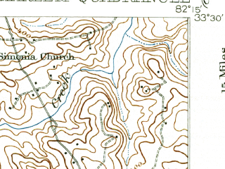 Reduced fragment of topographic map en--usgs--063k--055073--(1922)--N033-30_W082-30--N033-15_W082-15; towns and cities Thomson, Harlem, Dearing