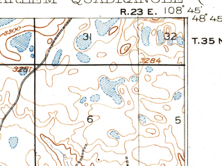 Reduced fragment of topographic map en--usgs--063k--055074--(1905)--N048-45_W109-00--N048-30_W108-45; towns and cities Harlem