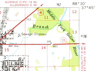 Reduced fragment of topographic map en--usgs--063k--055089--(1961)--N037-45_W088-45--N037-30_W088-30; towns and cities Harrisburg, Carriers Mills, Eddyville, Stonefort