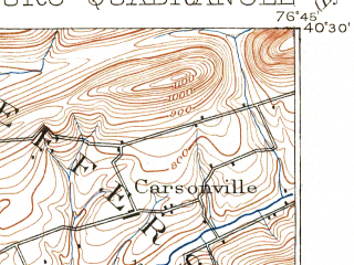 Reduced fragment of topographic map en--usgs--063k--055090--(1899)--N040-30_W077-00--N040-15_W076-45; towns and cities Harrisburg, Colonial Park, Enola, Linglestown, Progress