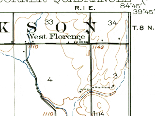 Reduced fragment of topographic map en--usgs--063k--055091--(1918)--N039-45_W085-00--N039-30_W084-45; towns and cities Boston, College Corner, Liberty