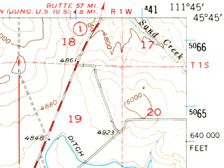 Reduced fragment of topographic map en--usgs--063k--055093--(1950)--N045-45_W112-00--N045-30_W111-45