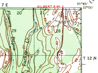 Reduced fragment of topographic map en--usgs--063k--055110--(1941)--N032-00_W092-00--N031-45_W091-45; towns and cities Harrisonburg