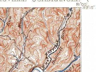 Reduced fragment of topographic map en--usgs--063k--055112--(1907)--N039-15_W081-15--N039-00_W081-00; towns and cities Harrisville, Cairo