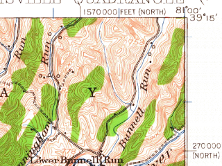 Reduced fragment of topographic map en--usgs--063k--055112--(1924)--N039-15_W081-15--N039-00_W081-00; towns and cities Cairo, Harrisville