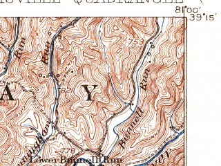 Reduced fragment of topographic map en--usgs--063k--055112--(1926)--N039-15_W081-15--N039-00_W081-00; towns and cities Harrisville, Cairo