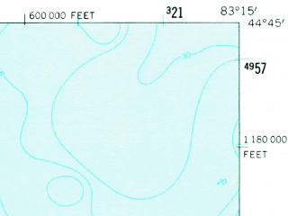 Reduced fragment of topographic map en--usgs--063k--055113--(1959)--N044-45_W083-30--N044-30_W083-15; towns and cities Harrisville, Lincoln
