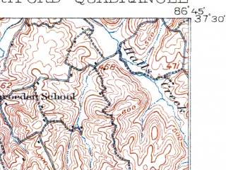 Reduced fragment of topographic map en--usgs--063k--055118--(1909)--N037-30_W087-00--N037-15_W086-45; towns and cities Beaver Dam, Centertown, Hartford
