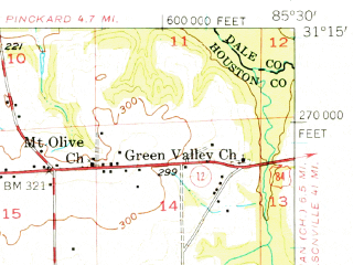 Reduced fragment of topographic map en--usgs--063k--055119--(1957)--N031-15_W085-45--N031-00_W085-30; towns and cities Black, Clayhatchee, Hartford