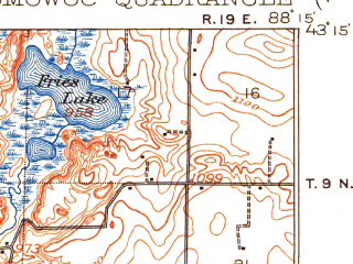 Reduced fragment of topographic map en--usgs--063k--055127--(1909)--N043-15_W088-30--N043-00_W088-15 in area of Pewaukee Lake, Okauchee Lake, Nagawicka Lake; towns and cities Oconomowoc, Delafield, Hartland, Nashotah, Chenequa