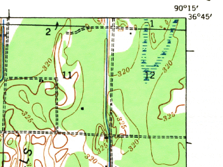 Reduced fragment of topographic map en--usgs--063k--055139--(1935)--N036-45_W090-30--N036-30_W090-15