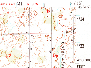 Reduced fragment of topographic map en--usgs--063k--055141--(1951)--N042-45_W085-30--N042-30_W085-15 in area of Wilkinson Lake; towns and cities Hastings, Middleville