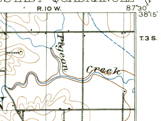 Reduced fragment of topographic map en--usgs--063k--055158--(1903)--N038-15_W087-45--N038-00_W087-30; towns and cities Cynthiana, Darmstadt, Fort Branch