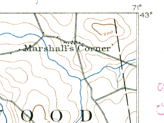 Reduced fragment of topographic map en--usgs--063k--055165--(1890)--N043-00_W071-15--N042-45_W071-00 in area of Island Pond; towns and cities Haverhill