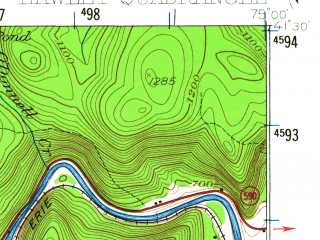 Reduced fragment of topographic map en--usgs--063k--055173--(1935)--N041-30_W075-15--N041-15_W075-00; towns and cities Hawley