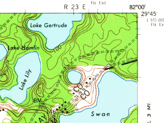 Reduced fragment of topographic map en--usgs--063k--055177--(1943)--N029-45_W082-15--N029-30_W082-00 in area of Little Orange Lake; towns and cities Hawthorne