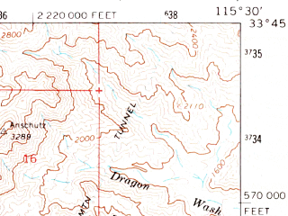 Reduced fragment of topographic map en--usgs--063k--055186--(1963)--N033-45_W115-45--N033-30_W115-30 in area of Hayfield Lake