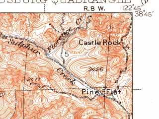 Reduced fragment of topographic map en--usgs--063k--055206--(1940)--N038-45_W123-00--N038-30_W122-45; towns and cities Windsor, Healdsburg, Larkfield-wikiup, Guerneville