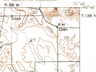 Reduced fragment of topographic map en--usgs--063k--055231--(1944)--N046-45_W102-00--N046-30_W101-45 in area of Lake Tschida