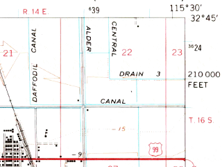 Reduced fragment of topographic map en--usgs--063k--055237--(1957)--N032-45_W115-45--N032-30_W115-30; towns and cities Calexico, Heber