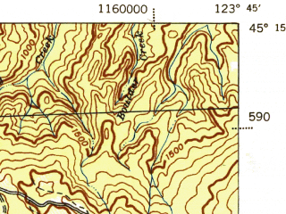 Reduced fragment of topographic map en--usgs--063k--055240--(1942)--N045-15_W124-00--N045-00_W123-45; towns and cities Rose Lodge