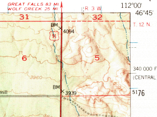 Reduced fragment of topographic map en--usgs--063k--055249--(1950)--N046-45_W112-15--N046-30_W112-00; towns and cities Helena, Helena Valley West Central, Helena Valley Northwest, Helena West Side