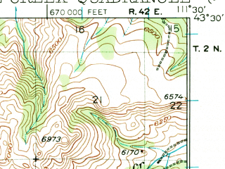 Reduced fragment of topographic map en--usgs--063k--055251--(1924)--N043-30_W111-45--N043-15_W111-30
