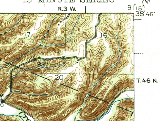 Reduced fragment of topographic map en--usgs--063k--055254--(1945)--N038-45_W091-30--N038-30_W091-15; towns and cities Berger, Hermann, Mckittrick