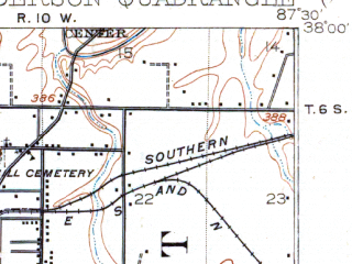 Reduced fragment of topographic map en--usgs--063k--055261--(1916)--N038-00_W087-45--N037-45_W087-30; towns and cities Evansville, Henderson