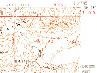 Reduced fragment of topographic map en--usgs--063k--055263--(1952)--N036-15_W115-00--N036-00_W114-45