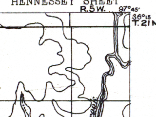Reduced fragment of topographic map en--usgs--063k--055268--(1893)--N036-15_W098-00--N036-00_W097-45; towns and cities Hennessey