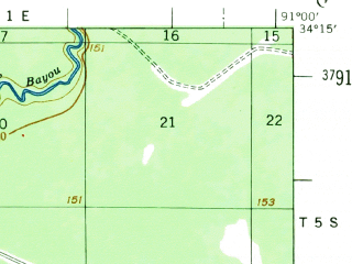 Reduced fragment of topographic map en--usgs--063k--055270--(1954)--N034-15_W091-15--N034-00_W091-00