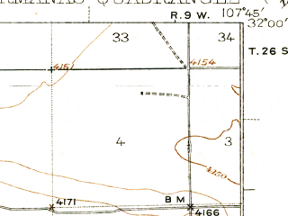 Reduced fragment of topographic map en--usgs--063k--055283--(1943)--N032-00_W108-00--N031-45_W107-45