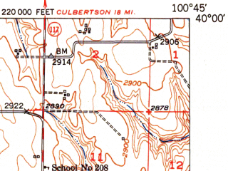 Reduced fragment of topographic map en--usgs--063k--055290--(1951)--N040-00_W101-00--N039-45_W100-45; towns and cities Herndon