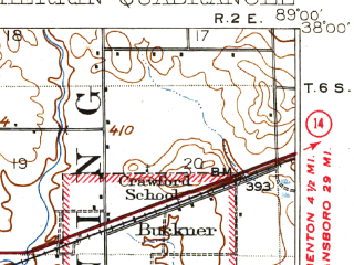 Reduced fragment of topographic map en--usgs--063k--055295--(1910)--N038-00_W089-15--N037-45_W089-00; towns and cities Herrin, Dowell, Elkville, Energy