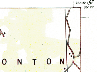 Reduced fragment of topographic map en--usgs--063k--055298--(1940)--N036-15_W076-30--N036-00_W076-15; towns and cities Hertford, Winfall