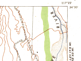 Reduced fragment of topographic map en--usgs--063k--055300--(1942)--N034-30_W117-30--N034-15_W117-15 in area of Silverwood Lake; towns and cities Hesperia, Mountain View Acres