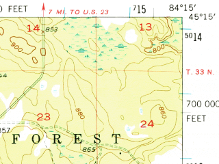 Reduced fragment of topographic map en--usgs--063k--055303--(1954)--N045-15_W084-30--N045-00_W084-15