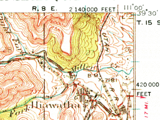 Reduced fragment of topographic map en--usgs--063k--055308--(1923)--N039-30_W111-15--N039-15_W111-00; towns and cities Hiawatha