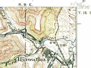 Reduced fragment of topographic map en--usgs--063k--055308--(1925)--N039-30_W111-15--N039-15_W111-00; towns and cities Hiawatha