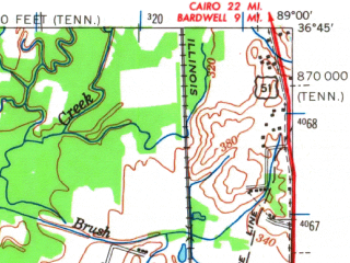 Reduced fragment of topographic map en--usgs--063k--055311--(1954)--N036-45_W089-15--N036-30_W089-00; towns and cities Hickman