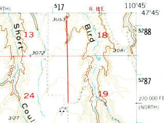 Reduced fragment of topographic map en--usgs--063k--055338--(1956)--N047-45_W111-00--N047-30_W110-45
