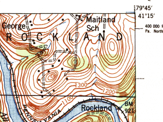 Reduced fragment of topographic map en--usgs--063k--055343--(1944)--N041-15_W080-00--N041-00_W079-45; towns and cities Barkeyville, Cherry Valley, Clintonville