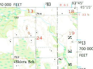Reduced fragment of topographic map en--usgs--063k--055344--(1955)--N045-15_W084-00--N045-00_W083-45; towns and cities Hillman