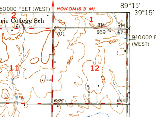 Reduced fragment of topographic map en--usgs--063k--055347--(1949)--N039-15_W089-30--N039-00_W089-15 in area of Lake Glenn Shoals, Coffeen Lake; towns and cities Taylor Springs, Coffeen, Donnellson
