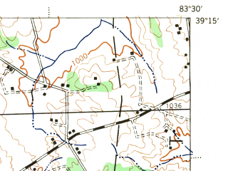 Reduced fragment of topographic map en--usgs--063k--055348--(1944)--N039-15_W083-45--N039-00_W083-30; towns and cities Hillsboro