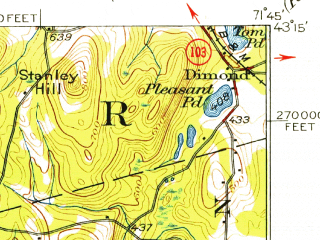 Reduced fragment of topographic map en--usgs--063k--055349--(1926)--N043-15_W072-00--N043-00_W071-45; towns and cities Antrim, Henniker, Hillsborough