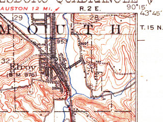 Reduced fragment of topographic map en--usgs--063k--055351--(1927)--N043-45_W090-30--N043-30_W090-15; towns and cities Elroy, Hillsboro, Union Center